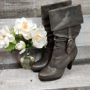 Matisse distressed grey heeled boots